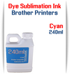 Cyan Dye Sublimation Ink Brother printers 240ml bottle ink