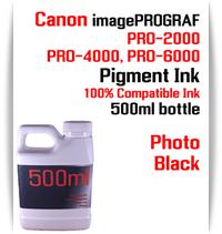 Photo Black 500ml bottle Pigment Ink Canon imagePROGRAF PRO printers  CANON imagePROGRAF PRO-500, PRO-520, PRO-540, PRO-560, PRO-1000, PRO-2000, PRO-4000, PRO-6000 printers