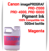 Magenta 500ml bottle Pigment Ink Canon imagePROGRAF PRO printers  CANON imagePROGRAF PRO-500, PRO-520, PRO-540, PRO-560, PRO-1000, PRO-2000, PRO-4000, PRO-6000 printers