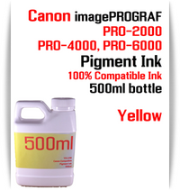 Yellow 500ml bottle Pigment Ink Canon imagePROGRAF PRO printers  CANON imagePROGRAF PRO-500, PRO-520, PRO-540, PRO-560, PRO-1000, PRO-2000, PRO-4000, PRO-6000 printers