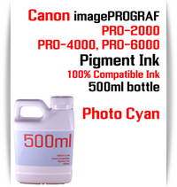 Photo Cyan 500ml bottle Pigment Ink Canon imagePROGRAF PRO printers  CANON imagePROGRAF PRO-500, PRO-520, PRO-540, PRO-560, PRO-1000, PRO-2000, PRO-4000, PRO-6000 printers
