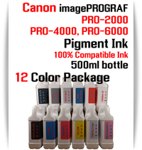12 Color Package - 500ml bottles Pigment Ink Canon imagePROGRAF PRO printers  CANON imagePROGRAF PRO-500, PRO-520, PRO-540, PRO-560, PRO-1000, PRO-2000, PRO-4000, PRO-6000 printers  Included colors: Photo Black, Cyan, Magenta, Yellow, Photo Cyan, Photo Magenta, Gray, Photo Gray, Blue, Red, Matte Black, Chroma Optimizer