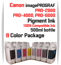 8 Color Package - 500ml bottles Pigment Ink Canon imagePROGRAF PRO printers  CANON imagePROGRAF PRO-500, PRO-520, PRO-540, PRO-560, PRO-1000, PRO-2000, PRO-4000, PRO-6000 printers  Included colors: Photo Black, Cyan, Magenta, Yellow, Photo Cyan, Photo Magenta, Gray, Matte Black