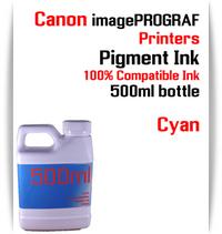 Cyan 500ml bottle Pigment Ink Canon imagePROGRAF iPF printers  CANON imagePROGRAF iPF6300, iPF6350, iPF6400, iPF6410, iPF6450, iPF6460, iPF8300, iPF8400, iPF8410, iPF9300, iPF9400, iPF9410 printers