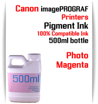 Photo Magenta 500ml bottle Pigment Ink Canon imagePROGRAF iPF printers  CANON imagePROGRAF iPF6300, iPF6350, iPF6400, iPF6410, iPF6450, iPF6460, iPF8300, iPF8400, iPF8410, iPF9300, iPF9400, iPF9410 printers