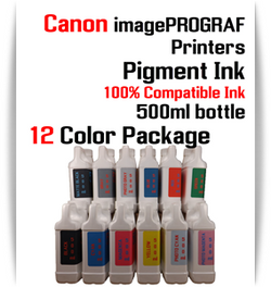 12 Color Package - 500ml bottles Pigment Ink Canon imagePROGRAF iPF printers  Canon imagePROGRAF iPF6300, iPF6350, iPF6400, iPF6410, iPF6450, iPF6460, iPF8300, iPF8400, iPF8410, iPF9300, iPF9400, iPF9410 printers  Included colors: Black, Cyan, Magenta, Yellow, Photo Cyan, Photo Magenta, Gray, Photo Gray, Blue, Red, Matte Black, Green