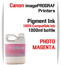Photo Magenta 1000ml bottle Pigment Ink Canon imagePROGRAF iPF printers  CANON imagePROGRAF iPF6300, iPF6350, iPF6400, iPF6410, iPF6450, iPF6460, iPF8300, iPF8400, iPF8410, iPF9300, iPF9400, iPF9410 printers