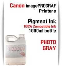 Photo Gray 1000ml bottle Pigment Ink Canon imagePROGRAF iPF printers  CANON imagePROGRAF iPF6300, iPF6350, iPF6400, iPF6410, iPF6450, iPF6460, iPF8300, iPF8400, iPF8410, iPF9300, iPF9400, iPF9410 printers