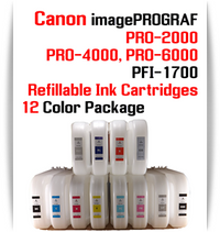 12 Color Package - PFI-1700 Refillable Ink cartridges 700ml with Auto Reset Chips installed Canon imagePROGRAF PRO-2000, PRO-4000, PRO-6000 printers Included colors: Photo Black, Cyan, Magenta, Yellow, Photo Cyan, Photo Magenta, Gray, Photo Gray, Blue, Red, Matte Black, Chroma Optimizer   Works with:   CANON imagePROGRAF PRO-2000, PRO-4000, PRO-6000 printers