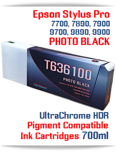 T636100 Photo Black - Epson Stylus Pro UtraChrome HDR Pigment Compatible Ink Cartridge 700ml