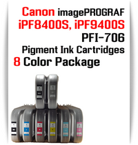 8 Color Package - PFI-706 compatible Pigment Ink cartridges 700ml Canon imagePROGRAF Printers  Included colors: Black, Cyan, Magenta, Yellow, Photo Cyan, Photo Magenta, Gray, Matte Black  Works with:  CANON imagePROGRAF iPF8400S iPF8410S iPF9400S iPF9410S printers