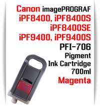 Magenta - PFI-706 compatible Pigment Ink cartridge 700ml Canon imagePROGRAF Printers  Works with:  CANON imagePROGRAF iPF8400 iPF8400S iPF8400SE iPF8410 iPF8410S iPF9400 iPF9400S iPF9410 iPF9410S printers