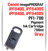 Gray - PFI-706 compatible Pigment Ink cartridge 700ml Canon imagePROGRAF Printers  Works with:  CANON imagePROGRAF iPF8400 iPF8400S iPF8400SE iPF8410 iPF8410S iPF9400 iPF9400S iPF9410 iPF9410S printers