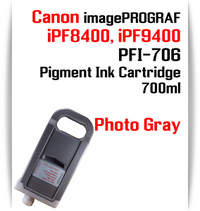 Photo Gray - PFI-706 compatible Pigment Ink cartridge 700ml Canon imagePROGRAF Printers Works with:   CANON imagePROGRAF iPF8400 iPF8410 iPF9400 iPF9410 printers