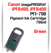 Green - PFI-706 compatible Pigment Ink cartridge 700ml Canon imagePROGRAF Printers Works with:   CANON imagePROGRAF iPF8400 iPF8410 iPF9400 iPF9410 printers