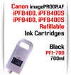 Black PFI-706 Refillable Ink cartridges 700ml Canon imagePROGRAF Printers   Works with:   Works with: CANON imagePROGRAF iPF8400SE iPF8410SE printers