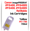 Yellow PFI-706 Refillable Ink cartridges 700ml Canon imagePROGRAF Printers   Works with:   Works with: CANON imagePROGRAF iPF8400SE iPF8410SE printers