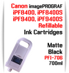 Matte Black PFI-706 Refillable Ink cartridges 700ml Canon imagePROGRAF Printers   Works with:   Works with: CANON imagePROGRAF iPF8400SE iPF8410SE printers