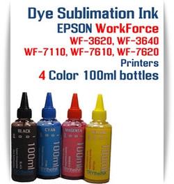 4 100ml bottles Dye Sublimation Ink Package   Included Colors: Black, Cyan, Magenta, Yellow  Epson WorkForce WF-3620, WF-3640, WF-7110, WF-7610, WF-7620 printers