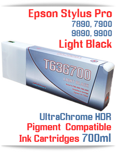 T636700 Light Black - Epson Stylus Pro UtraChrome HDR Pigment Compatible Ink Cartridge 700ml