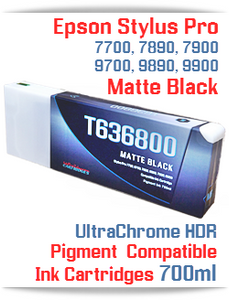 T636800 Matte Black - Epson Stylus Pro UtraChrome HDR Pigment Compatible Ink Cartridge 700ml