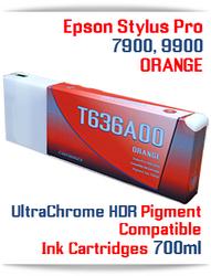 T636A00 Orange - Epson Stylus Pro 7900, 9900 UtraChrome HDR Pigment Compatible Ink Cartridge 700ml