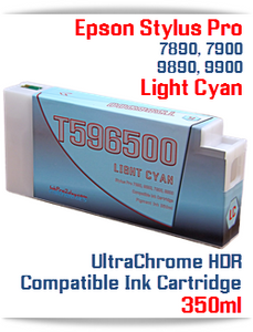 T596500 Light Cyan Epson Stylus Pro 7890/9890, 7900/9900 UtraChrome HDR Pigment Compatible Ink Cartridge 350ml
