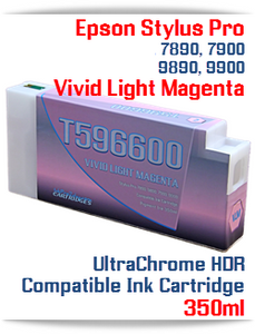 T596600 Vivid Light Magenta Epson Stylus Pro 7890/9890, 7900/9900 UtraChrome HDR Pigment Compatible Ink Cartridge 350ml