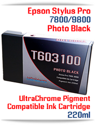 T603100 Photo Black Epson Stylus Pro 7800, 9800 Compatible Pigment Ink Cartridges 220 ml