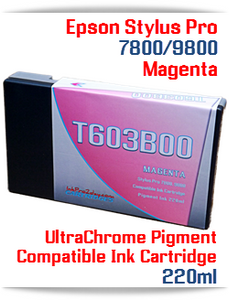 T603B00 Magenta Epson Stylus Pro 7800, 9800 Compatible Pigment Ink Cartridges 220ml