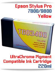 T603400 Yellow Epson Stylus Pro 7800, 9800 Compatible Pigment Ink Cartridges 220ml