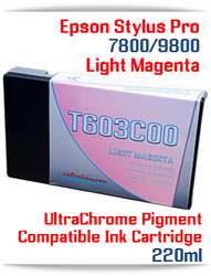 T603C00 Light Magenta Epson Stylus Pro 7800/9800 Compatible Pigment Ink Cartridges 220ml