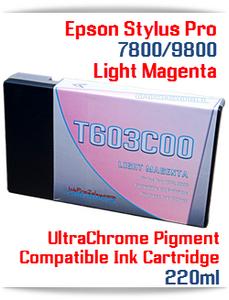 T603C00 Light Magenta Epson Stylus Pro 7800/9800 Compatible Pigment Ink Cartridges 220ml