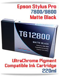 T612800 Matte Black Epson Stylus Pro 7800/9800 Compatible Pigment Ink Cartridges 220ml