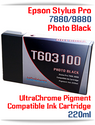 T603100 Photo Black Epson Stylus Pro 7880, 9880 Compatible Pigment Ink Cartridges 220ml