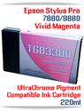 T603300 Vivid Magenta Epson Stylus Pro 7880, 9880 Compatible Pigment Ink Cartridges 220ml