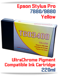 T603400 Yellow Epson Stylus Pro 7880, 9880 Compatible Pigment Ink Cartridges 220ml