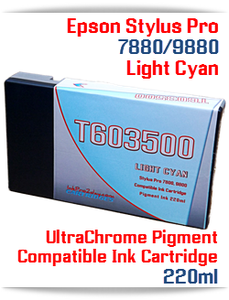 T603500 Light Cyan Epson Stylus Pro 7880, 9880 Compatible Pigment Ink Cartridges 220ml