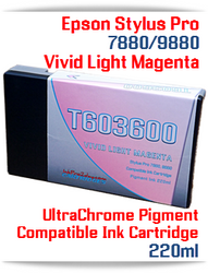T603600 Vivid Light Magenta Epson Stylus Pro 7880, 9880 Compatible Pigment Ink Cartridges 220ml