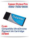 T544200 Cyan Epson Stylus Pro 7600/9600 Compatible UltraChrome Pigment Ink Cartridge 220ml