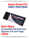 T544800 Matte Black Epson Stylus Pro 7600/9600 Compatible Pigment Ink Cartridges 220ml