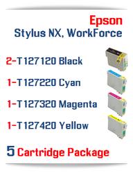 5 Cartridge Package T127 Epson WorkForce Compatible Ink Cartridges