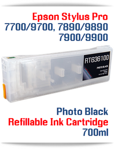 Photo Black Epson Stylus Pro 7900, 9900 Refillable Ink Cartridges