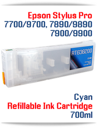 Cyan Epson Stylus Pro 7900, 9900 Refillable Ink Cartridges