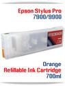 Orange Epson Stylus Pro 7900, 9900 Refillable Ink Cartridges