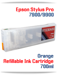 Orange Epson Stylus Pro 7900, 9900 Refillable Ink Cartridges