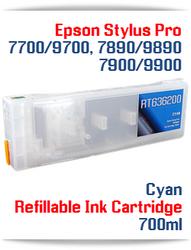 Cyan Epson Stylus Pro 7890/9890 Refillable Ink Cartridges