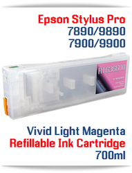 Vivid Light Magenta Epson Stylus Pro 7890/9890 Refillable Ink Cartridges