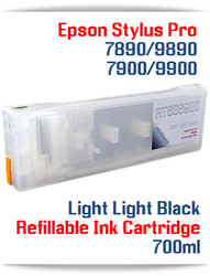 Light Light Black Epson Stylus Pro 7890/9890 Refillable Ink Cartridges