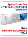 Refillable Cyan Epson Stylus Pro 7700/9700 Compatible Ink Cartridges 700ml